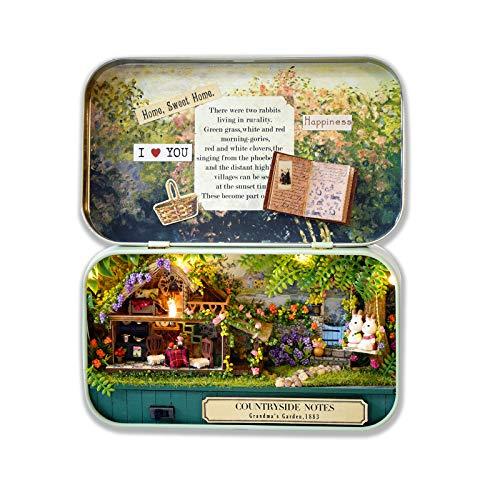 Cuteefun Kit Casa in Miniatura Fai-da-Te da Costruire in Scatola per Adulti, Mini Teatro Fatto a Mano, Regali Creativi Artigianali per Donne (Country Life)