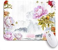 NIESIKKLAマウスパッド 夏の花の風景アートハウスローズレッドフラワー ゲーミング オフィス最適 高級感 おしゃれ 防水 耐久性が良い 滑り止めゴム底 ゲーミングなど適用 用ノートブックコンピュータマウスマット