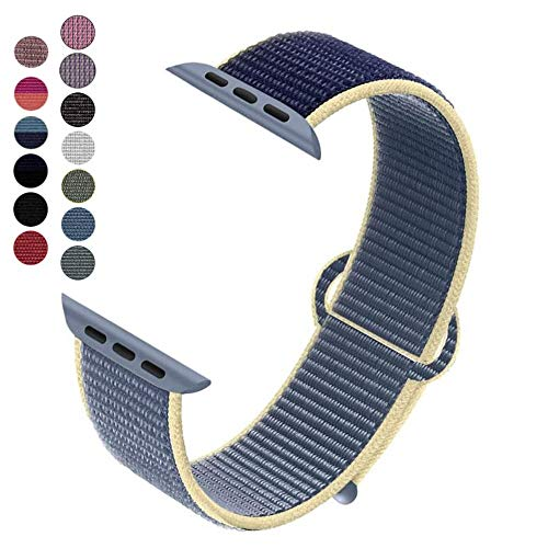 Dapo-Correa Compatible con Watch Sport Loop 38/40mm 42/44mm, Correa de Reemplazo de Nylon Suave Transpirable Compatible con Series 5/4/3/2/1 (38/40mm, Doble Azul)