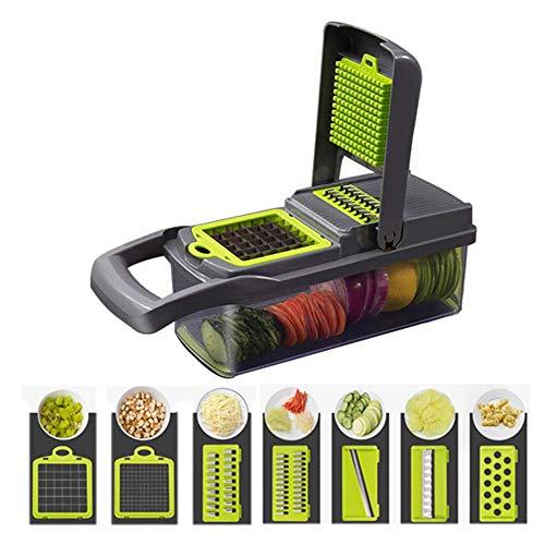 YOJINKE 7 in 1 Gemüseschneider, Zwiebel Zerkleiner, Edelstahl Klingen, Obst und Gemüseschneider Zwiebelschneider, Käse Cutter, Ideal zum Hobeln von Obst und Gemüse