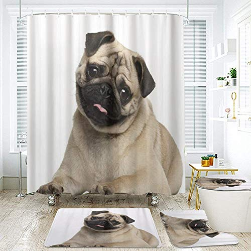 YCHY Shower Curtain Sets Non-Slip Rug,Toilet Lid Cover and Bath Mat,Pug Puppy Lying Around Cute Pet Funny Animal Domestication,Waterproof Bath Curtains with 12 Hooks,Home Bathroom Decorations