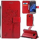 Ooboom Samsung Galaxy S7 Coque Motif Arbre Chat PU Cuir Flip Housse Étui Cover Case...
