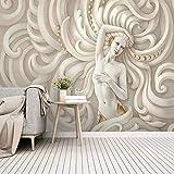 Al estilo europeo Figura en relieve 3D Escultura Ángel Foto Murales Fondo de pantalla Dormitorio Habitación Hotel Lujo Pared de telón de fondo 430x300 cm