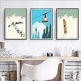 HMOTR Wintersport Skifahren Kunst Poster Leinwand Malerei,