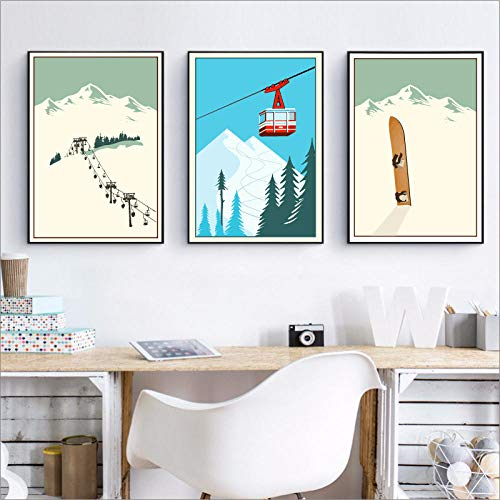 HMOTR Wintersport Skifahren Kunst Poster Leinwand Malerei, Vintage Travel Poster Ski im Schnee Berg Malerei Winter Home Decor