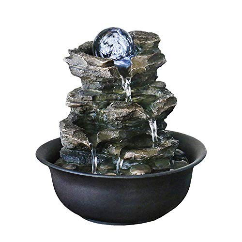 WICHEMI Tabletop Water Fountain with Rolling Ball, Feng Shui Zen Indoor Waterfall Fountain for Home Office Decor (Style 5)