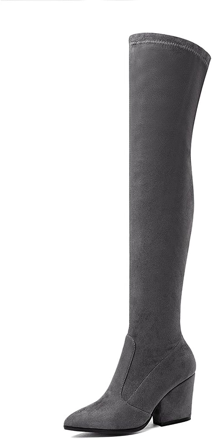 Wetkiss Fashion Women's Over The Knee Boots Stretch Thigh high Boots Lady Thick high Heels shoes