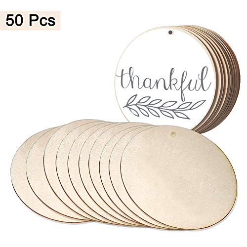 Wood Circles (50pcs) - Unfinished Round Discs (3.9Inch/10cm) with Holes - 2mm Thick Blank Wooden Tags Slices Cutouts for DIY Crafts , Birthday, Game Boards, Decorations