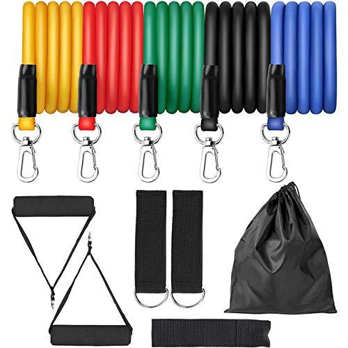 CICI 11pcs Übung Widerstand-Bänder Set Expander Yoga Pull Rope Fitnesstraining Fitness Band Heimtraining mit Tür-Anker Knöchelriemen,11pcs