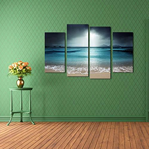 Pintura decorativa pintura sin marco 4 juntas azul agua mar cielo oscuro computadora inyección de tinta pintura al óleo AliExpress Amazon-L: 30cmx60cm (2 piezas) + 30cmx75cm (2 piezas) Lienzo de pintu