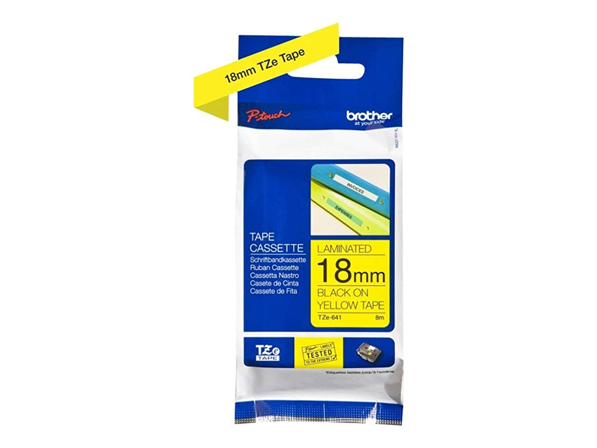 Brother TZe641 - Laminated Adhesive Tape - Black on Yellow - Roll (1.8 cm x 8 m) - 1 roll(s)
