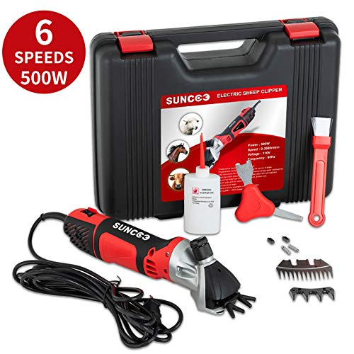 SUNCOO 500W Sheep Shears 6 Speeds Portable Electric Clippers Heavy...