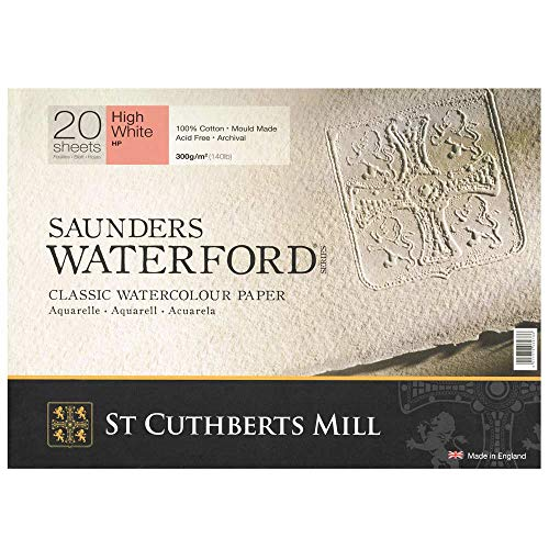 High White Saunders Waterford Block 300gsm 228 x 304mm (9' x 12') 20 Sheets Hot Pressed