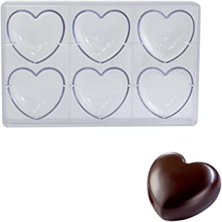 Martellato Polycarbonate Chocolate Mold, Heart 75mm x 70mm x 22mm Thick, 6 Cavities