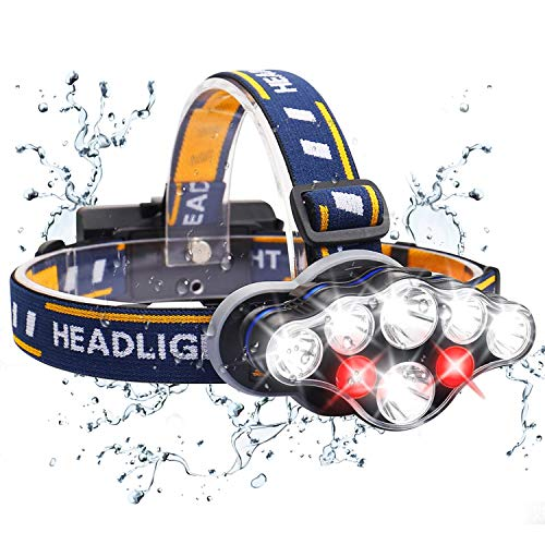Linterna Frontal LED USB Recargable, Ramotto Lámpara de Cabeza 18000LM con 8 LED 8 Modos, IPX4 Impermeable para Ciclismo, Senderismo, Camping, Correr, Pesca