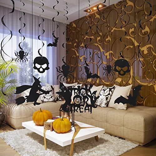 Herefun Halloween Decorazioni Horror, Ragni Pipistrelli Scheletro Witch Halloween Stregata Decorazioni di Forniture per Feste di Halloween