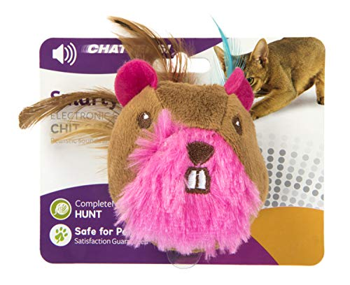 SmartyKat, Chit Chatter, Electronic Sound Cat Toy, Soft Plush, Lightweight, Extra-Long, With Feathers and Touch-Activated Chirps