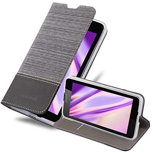 Cadorabo Hülle für Nokia Lumia 640 - Hülle in GRAU SCHWARZ – Handyhülle mit Standfunktion und Kartenfach im Stoff Design - Case Cover Schutzhülle Etui Tasche Book