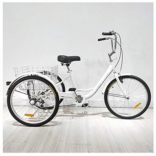 Triciclo para Adultos,velocidades con 3 Ruedas, Triciclo de Crucero con Carrito, para Compras de Deportes al Aire Libre (Color : White)