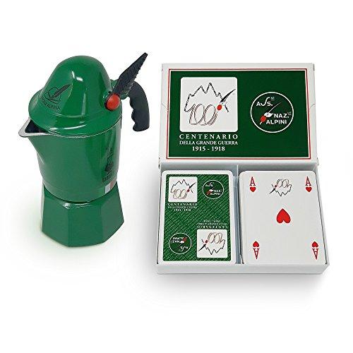 Bialetti Moka Alpina Set : Caffettiera 3 Tazze in Alluminio e Carte da Gioco da Poker Ramino Dal Negro Edizione Limitata Alpini