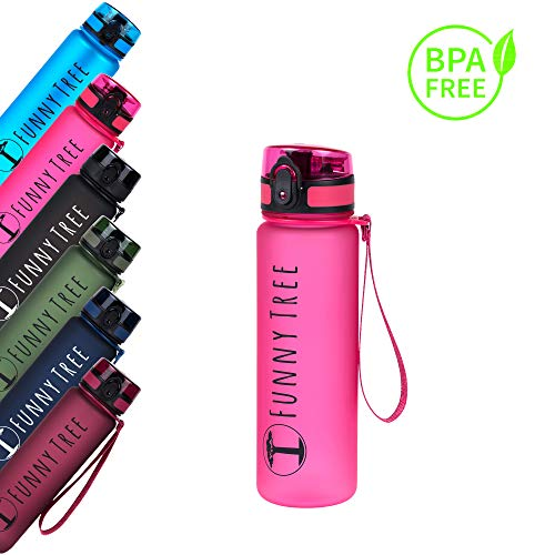 Funny Tree Botella para Beber Hecha de tritan. 500 ml de Rosa Caliente. Libre de BPA y a Prueba de Fugas! Ideal para Yoga, Fitness o Wellness. También es Ideal para los niños.