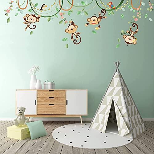 Yyhmkb Monkeys On Vine Pegatinas de pared para niños Calcomanías de pelar y pegar extraíbles para guardería, dormitorio, sala de estar, arte, murales, decoraciones 1