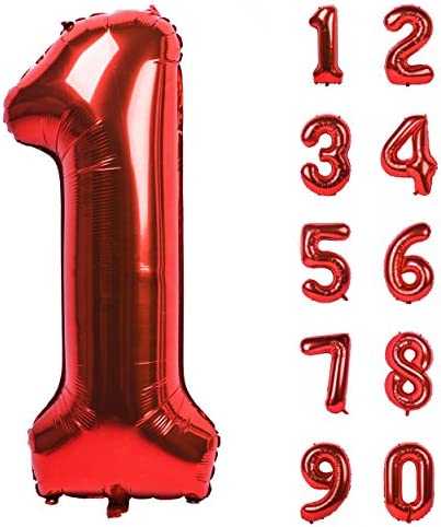 40 Inch Red Large Numbers 0 9 Birthday Party Decorations Helium Foil Mylar Big Number Balloon product image