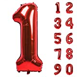 40 Inch Red Large Numbers 0-9 Birthday Party Decorations Helium Foil Mylar Big Number Balloon Digital 1