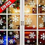 Tuopuda 270 PZ Natale Adesivi Finestra Natale Vetrofanie Addobbi Murali Fai da te Finestra Decorazione Fiocco di Neve Adesivi Natale Wallpaper Rimovibile Sticker (Bianco)