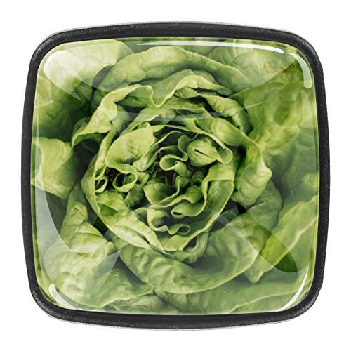 Paquete de 4 tiradores de cajón y pomos para cajones con tornillos de cristal para cajón de cocina, puerta de cocina, armario, ensalada verde fresco
