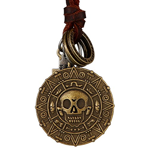DonDon® Herren Halskette aus Leder braun mit messingfarbenen Totenkopf-Münzen-Anhänger und Samtbeutel
