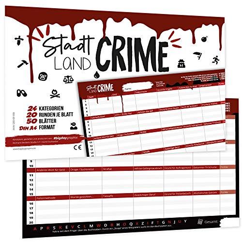 bigdaygraphix Stadt Land Fluss Crime – die kriminelle Edition – Gesellschaftsspiel lustiges Partyspiel 50 Seiten A4 Block schwarz rot