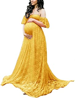 aad0b05e33 Maternity Photography Props Floral Lace Dress Fancy Pregnancy Gown for Baby  Shower Photo Shoot