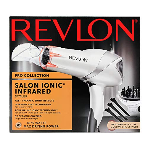 Revlon 1875W Infrared Hair Dryer with Hair Clips