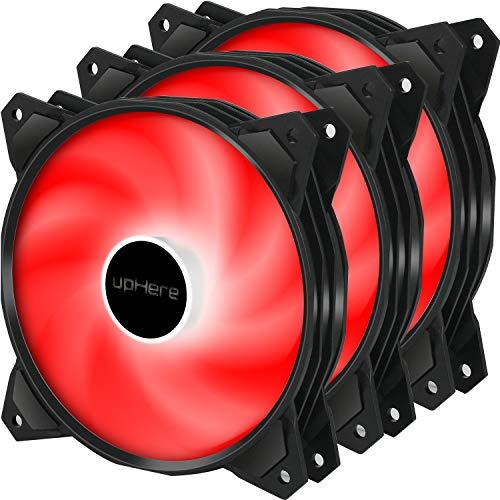 upHere 120mm 3pin LED Rojo Ventilador de Caja - Ventilador de PC Silencioso 3 Pack (PF120RD3-3)