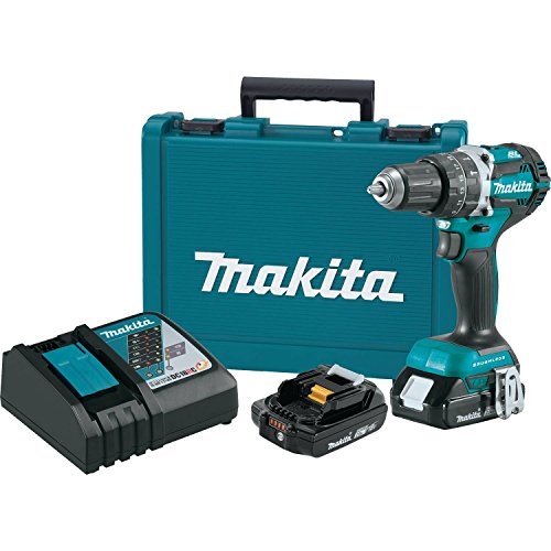 "Makita XPH12R 18V LXT Lithium-Ion Compact Brushless Cordless 1/2"" Hammer Driver-Drill Kit (2.0Ah),"