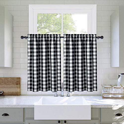 """Haperlare Classic Country Farmhouse Cotton Kitchen Window Curtains, Buffalo Check Bathroom Window Curtain Thick Yarn Dyed Plaid Gingham Half Window Kitchen Cafe Curtains, 27"""" W x 24"""" L, Black/White"""