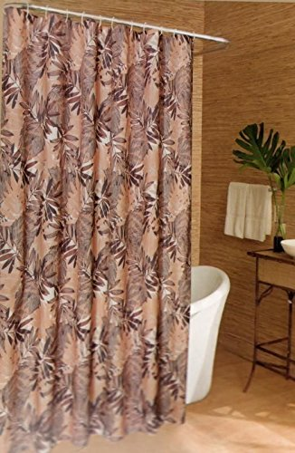 Caribbean Joe Island Supply Fabric Shower Curtain with rings hooks Graphic Leaves Tropical