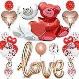SZWL 38PCS Kit de decoraciones del día de compromis,Kit Romántico de Globos,para el Día de San Valentín Bodas Nupcial Aniversario y Compromiso,Globos Aniversario Pareja