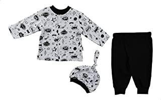 Lumex Patterned T-Shirt with Elastic Waist Pants and Cap Pajama Set for boys, 3 Pieces
