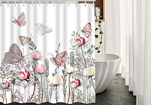Blumen Duschvorhang Schmetterling auf Pfirsichblüten Rose Blätter im Frühling Garten Badezimmer Dekoration Duschvorhang