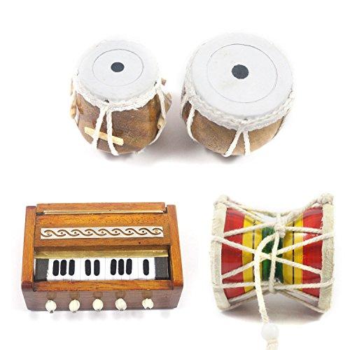 India voldoet aan India handwerk Miniatuur Houten Damroo, Tabla Set, Harmonium (3 Set Koelkast Magneten) Showpieces Multi occasionele Premium Gift