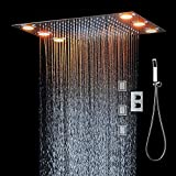 hm Set para la ducha,360x500mm LED multifuncional termostático Sistema de ducha,...