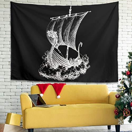 Magiböes Tapiz de pared con diseño de barco vikingo y dragón, 150 x 130 cm, color blanco