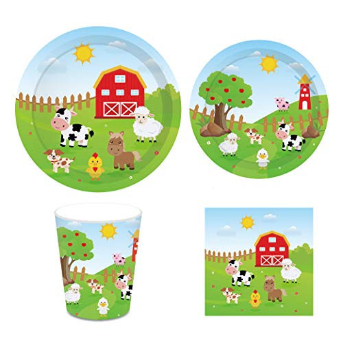 """CC HOME Farm Animal Birthday Party Supplies-Serves 16-Include 7"""" Plates ,9""""Plates ,Cups,Napkins for Baby Shower,Birthday Party, Wedding Party Decorations"""