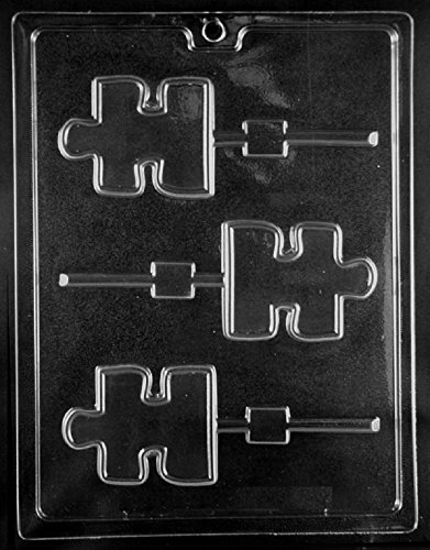 Grandmama's Goodies M223 Puzzle Piece Lollipop Autism Awareness Chocolate Candy Soap Mold with Exclusive Molding Instructions