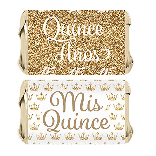 Quinceanera Party Mini Candy Bar Wrapper Stickers, 54 Count (White and Gold)