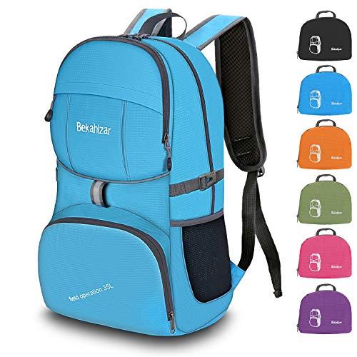 Bekahizar Handgepäck Rucksack 35 Liter, Leichter Faltbarer Reiserucksack für Herren Damen Outdoor Camping Wandern Radfahren Tageswanderungen (blau)