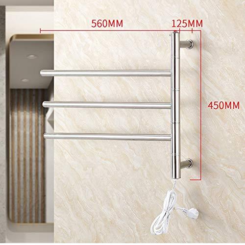 NINI Cuarto de baño toallero de Acero Inoxidable calefacción eléctrica Toalla Rack Cuarto de baño Colgando Toalla Estante Inodoro Estante 480 * 560 * 120mm