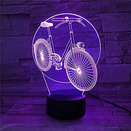 Luz de noche LED 3D Rueda grande Bicicleta USB Niños Niño Niños Lámpara de atmósfera colorida Control táctil Regalo de Navidad de Navidad